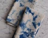 Indigo hand dyed napkins set of two. Linen cotton blend.