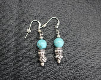 Silver Earrings with Turquoise beads