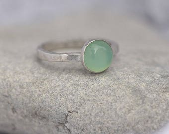 Handmade Chalcedony Ring, Silver Ring with Chalcedony, Green Ring, Ring Size N1/2, Green and Silver Ring