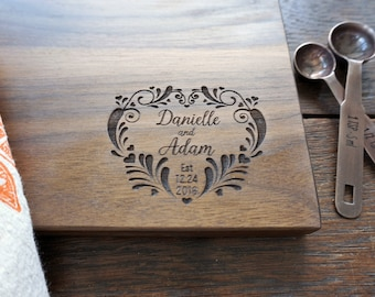 Personalized First Christmas Cutting Board Gift for Xmas wedding Valentines Day Anniversary Gift Housewarming Hostess Gift For Newlyweds