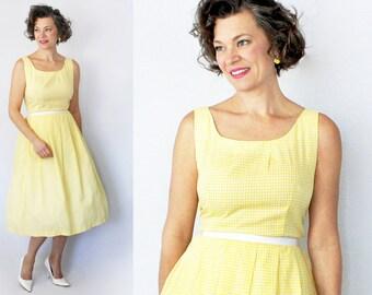 "Vintage XL Dress / Size 14 Dress / Size 16 / 1960s Dress / 60s Dress / XL Dress / Sun Dress Sundress / Gingham Dress / Yellow / 34"" Waist"