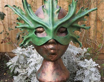 Leather Leaf Mask - Green Spriggan - Faerie Masquerade Ball Festival