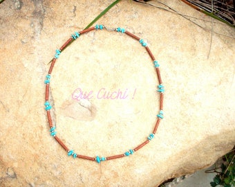 Necklace with Turquoise stone chips and beads tubes of clay cut