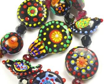 folk art handmade art glass lampwork bead necklace