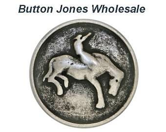 50 pcs. Bronco 9/16 inch ( 15 mm ) Metal Buttons Antique Silver Color