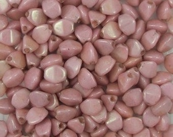 150 St. Alabaster Lustred pink pinch bead 5x3mm