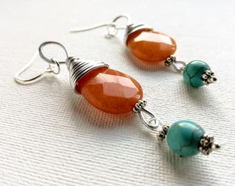 Wire Wrapped orange earrings, Turquoise Earrings, carnelian dangle earrings, orange  and turquoise drop earrings, turquoise Jewelry