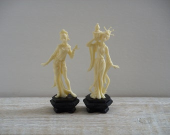 Vintage Depose Plastic Figurines ~ Asian Oriental Woman Figurine Small Statue ~ Made in Italy Fontanini Spider Mark