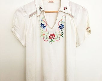 1920s hand stitched folk embroidered smocked blouse