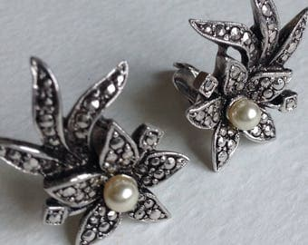 Vintage  Marcasite Flower  Earrings - Gifts for Her - Mothers Day