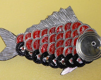 OOAK Small Handmade Trash Art Recycled Bottle Cap Fish — Used Coca Cola and Miller Bottle Caps