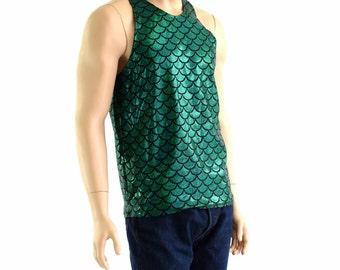 Mens Green Dragon Scale Mermaid Merman Muscle Shirt Mens Rave or Festival Shirt Triton 154007