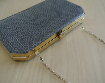 Grey Snakeskin Embossed Clutch Box Clutch Chain Strap 1970s Handbag
