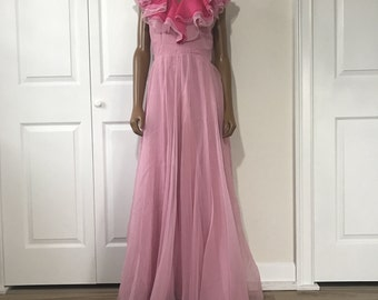 Miss Elliette Chiffon Gown Glam Gown Pink Formal Dress Size S/M