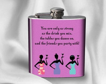 SALE! Hip Flask - You are only as strong as the drinks you mix