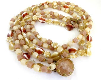 Triple Strand Necklace - Vintage Cream Bead Glass Necklace, Gift for Her, Gift Box, FREE SHIPPING