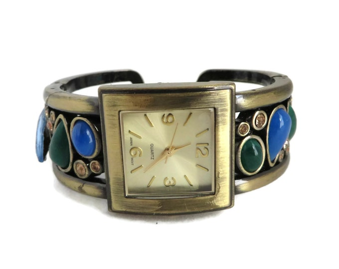 Vintage Women's Faux Gemstone Watch, Japan Movement Rhinestone Cuff Bracelet Watch