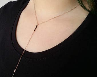 Rose gold Y necklace Black Spinel Rose gold choker lariat Trending rose gold Dainty rose gold Necklace for daughter Gift for wife Y necklace
