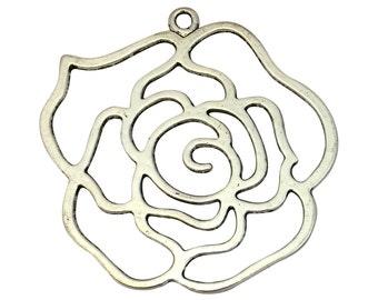 BULK 5 Cutout Silver Rose Pendant Necklace 56x56mm by TIJC - SP1512B