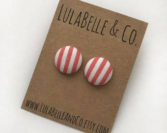 Strawberry Stripes Button Earring