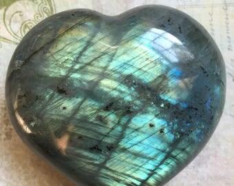 Large Labradorite Heart - Top Flash BOTH sides /One Pound!