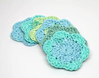 Crochet Face Scrubbies- Facial Cleansing Pads- Washcloth- Drink Coaster- Makeup Removers