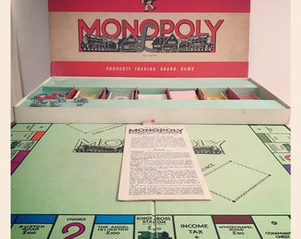Vintage 1950's Monopoly Board Game by Waddingtons Good Condition