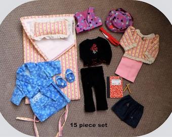 "Sale!/American Doll Winter Wardrobe/15 Pc Set/AG Stuff/18"" Doll Clothes/Girl doll Accessories/Sleepwear/Robe/School Outfit/sleeping bag/hat"