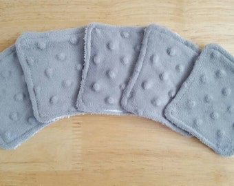 Grey and white makeup remover pads, set of 5, face scrubbies, beauty supplies, eco-friendly makeup pads, reusable face cloths, soft face pad