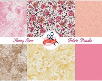 HONEY BEE Fabric Bundle by the Yard Half Fat Quarter Bundle Pink & Yellow Bee Hives Fabric 100% Cotton Quilting Fabric Apparel Fabric Kit