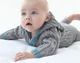 Aran Hooded Coat Baby Boy Knits, Toddler Knit Coat, Newborn Knit Coat, Newborn to all Toddler sizes