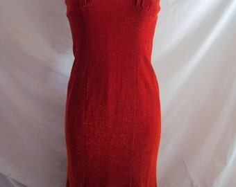 Vintage Metallic lurex red flounce strap evening dress by Moga size 8