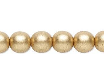 Round Druk Beads - Satin Gold - 10mm - Czech Glass Beads - Center Drilled - 10 Beads