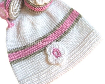 Gift for girls baptism baby children Hat knit newborn infants until 1 year toddlers 'Julia'