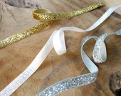 Glitter Ribbon, Gold, Silver, White | Gold ribbon, silver ribbon, snow white sparkle ribbon, Christmas ribbon, holiday ribbon decoration.