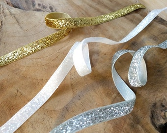 Glitter Ribbon | Gold ribbon, silver ribbon + snow white sparkle ribbon, tape or trim for celebrations, wedding decoration, gift packaging.