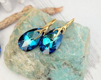 24k Gold Plated Sterling Silver Swarovski Earring-Teardrop Earring-Swarovski Crystal Jewellery-Bermuda Blue-Bridesmaids Dangle Drop Earrings