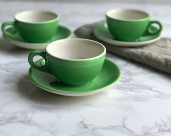 Homer Laughlin Medium Green Tea Cups / Homer Laughlin Cups / Homer Laughlin Coffee Cups / Green Ceramic Tea Cups