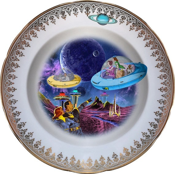 Coming Home - Flying Saucer - Vintage Porcelain Plate - #0447