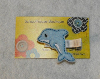 Dolphin Felt Hair Clips, Feltie Hair Clip, felt clippie, felt hair bow, felt hair clip, party favor