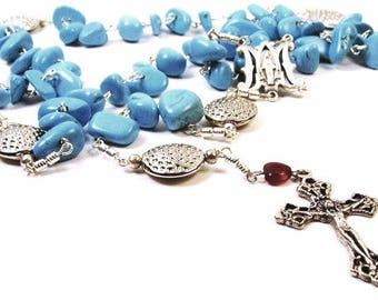 Blessed Mother Mary Turquoise Rosary Necklace