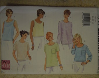 Butterick 5948, sizes 14-18, UNCUT sewing pattern, craft supplies, tops, blouses, shirts, misses, petite