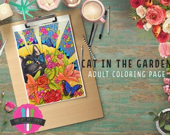 Adult Coloring Page Download   Cat Butterfly Garden Art Nouveau Style  Coloring Page