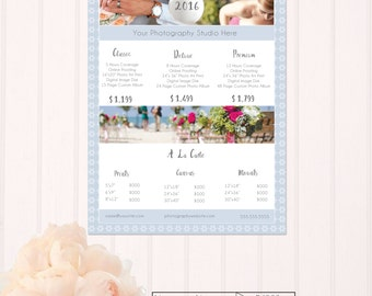 Blue Floral Photography Price List Template- PS002