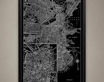 Canvas Print - Boston City Map - Boston City Canvas - Boston Map - Boston Canvas Print - Boston Canvas
