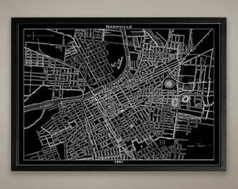 Canvas Print - Nashville City Map - Nashville City Canvas - Nashville Print - Nashville Map - Nashville Map Print - Map of Nashville