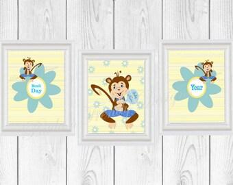 Monkey Boy Nursery Trio   Set Of 3 Printable Nursery Room Wall Art    Printables