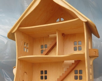 Handmade wooden dollhouse / Natural Wooden Dollhouse Waldorf , Montessori , Handcrafted Toy , Toys
