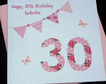 Floral Bunting Personalised Birthday Card