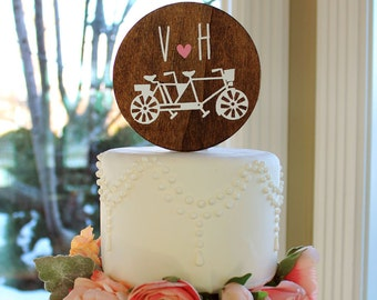 Tandem Bike Cake Topper with Custom Initials Monogram Mant Fonts - Paint Colors
